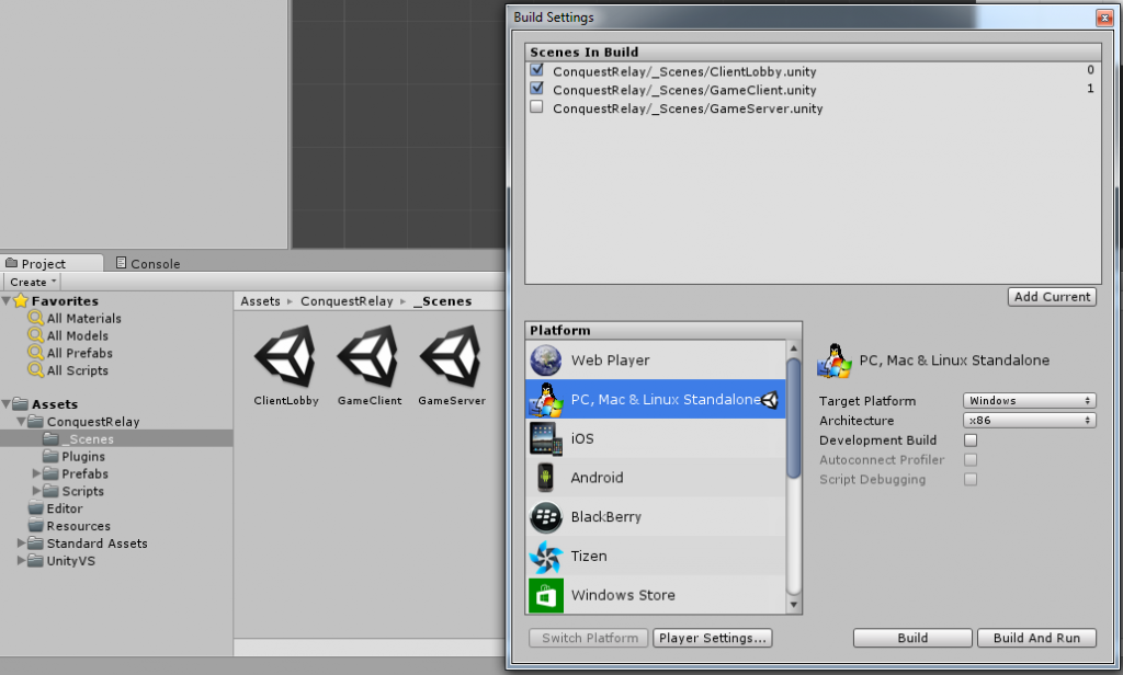 Running the game client in Unity